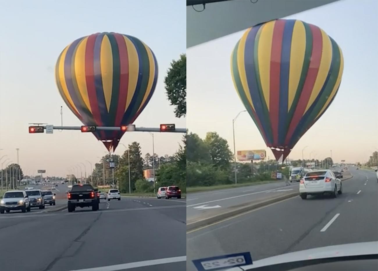 Αερόστατο προσγειώνεται στη μέση του δρόμου