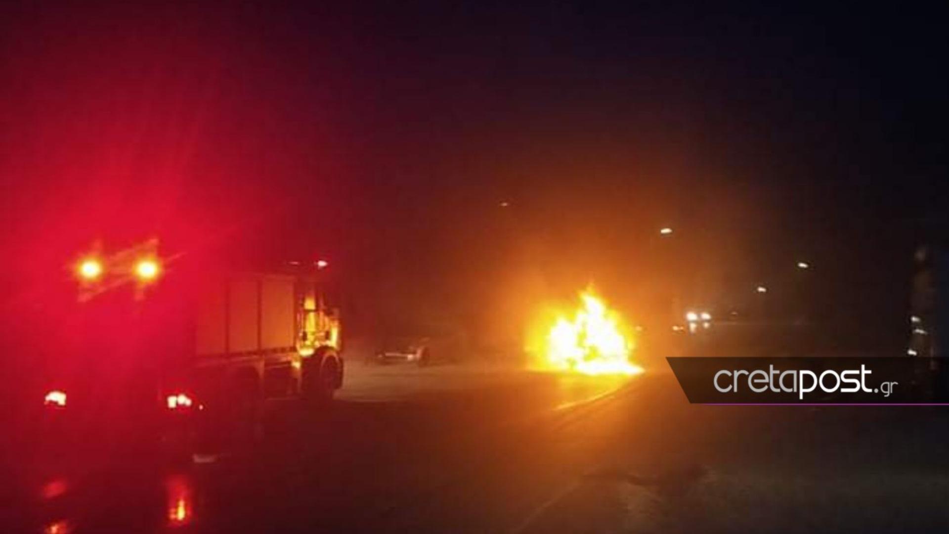 Τροχαίο στην Κρήτη: Αυτοκίνητο έπεσε σε τοίχο και τυλίχθηκε στις φλόγες