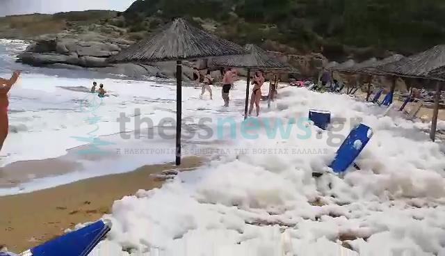Χαλκιδική: «Άφρισε» παραλία στη Σιθωνία – Η εξήγηση πίσω από αυτές τις εικόνες που εκπλήσσουν