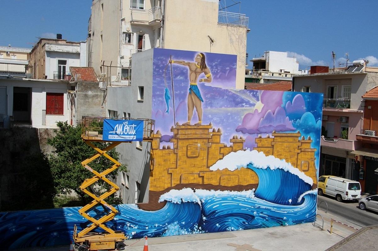 Χανιά: «Το Σφράγισμα του Ηγεμόνα» – Το εντυπωσιακό γκράφιτι σε δημοτικό πάρκινγκ