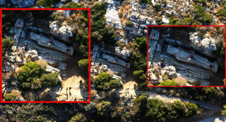 Νάξος: Το drone έπιασε αυτές τις εικόνες στον Κούρο του Απόλλωνα – Θυμός για τους τουρίστες
