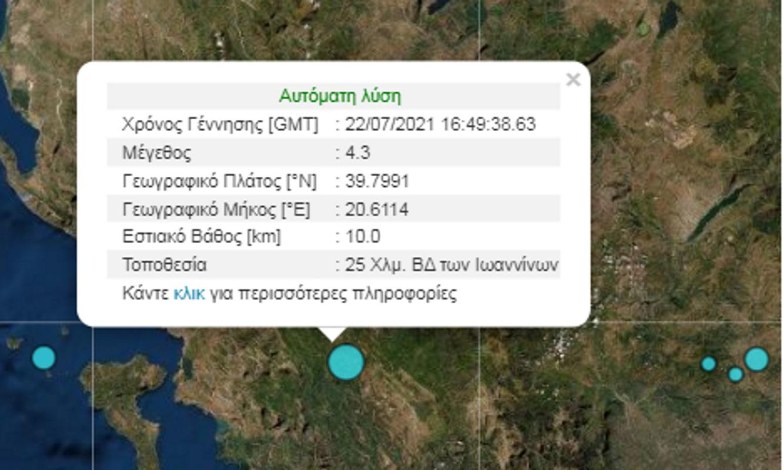 Σεισμός κοντά στα Ιωάννινα – Αναστατώθηκαν οι κάτοικοι