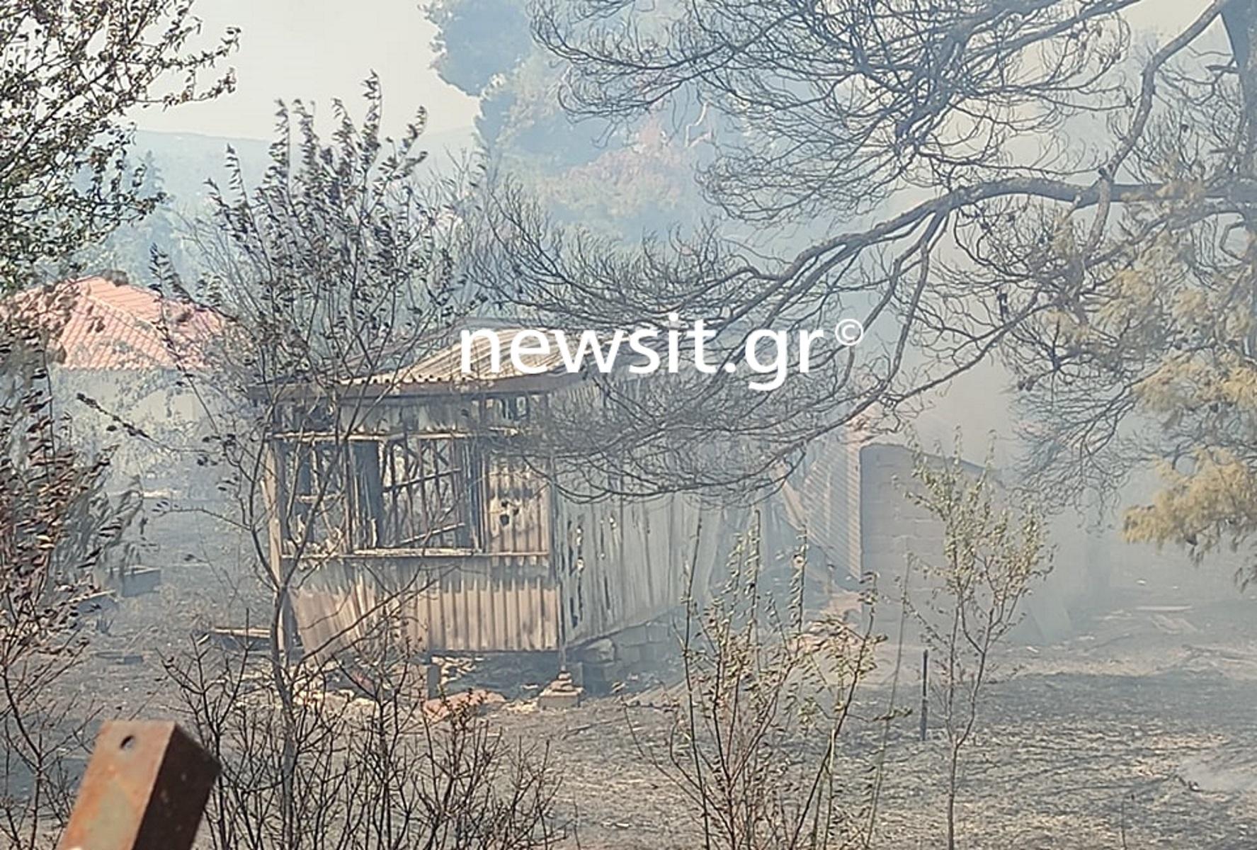 Φωτιά στη Σταμάτα: Καίγονται σπίτια στη Ροδόπολη
