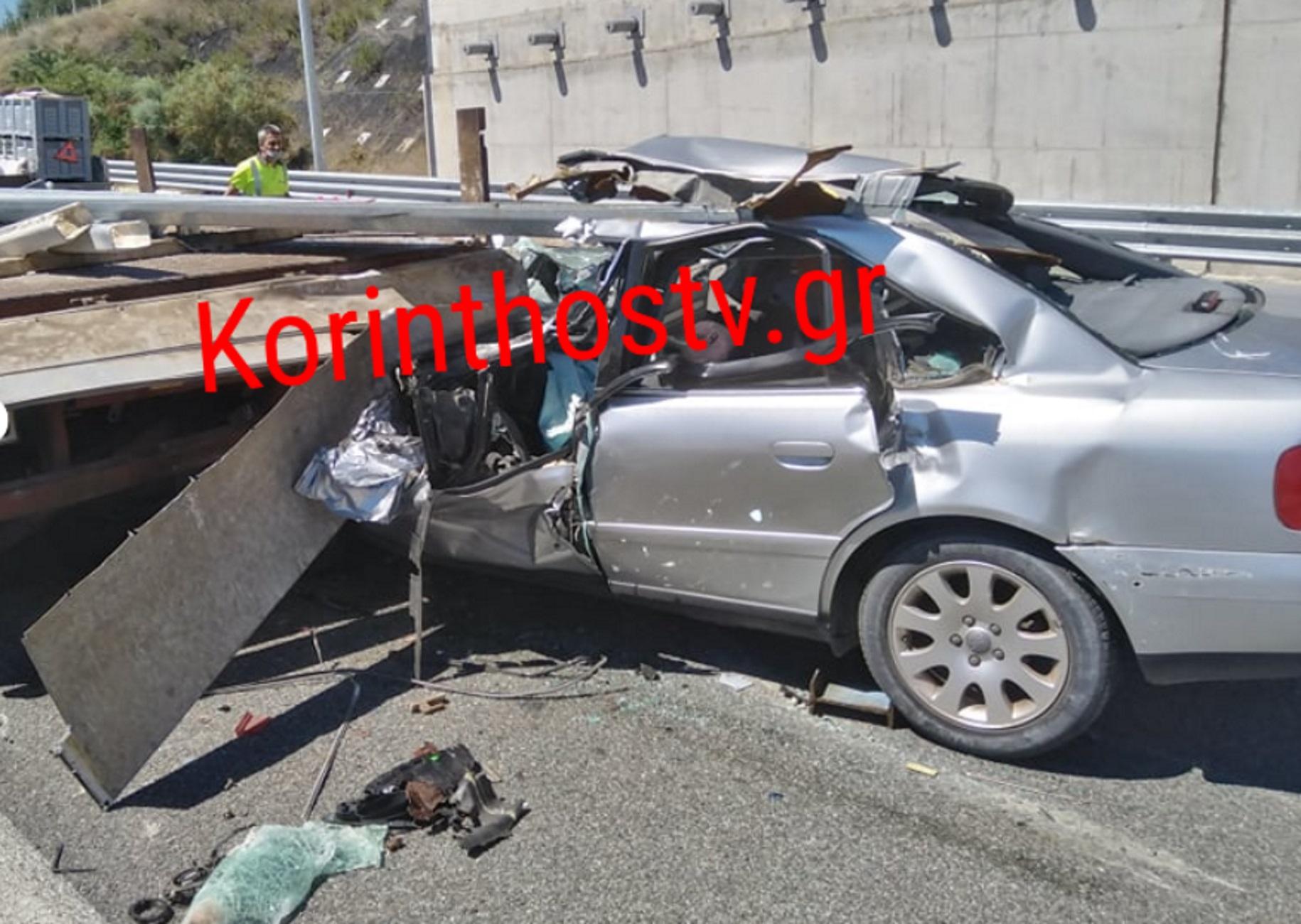 Εθνική Οδός: Διαλύθηκε το αυτοκίνητο που «καρφώθηκε» σε φορτηγό στην Κορίνθου – Πατρών