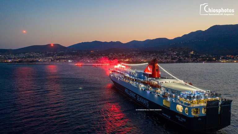 Χίος: Φαντασμαγορικός «χαιρετισμός» του Νήσος Σάμος στην Αγία Παρασκευή