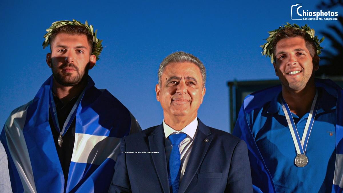 Η Χίος υποδέχθηκε τους Ολυμπιονίκες της Γιάννη Φουντούλη και Κώστα Γκιουβέτση