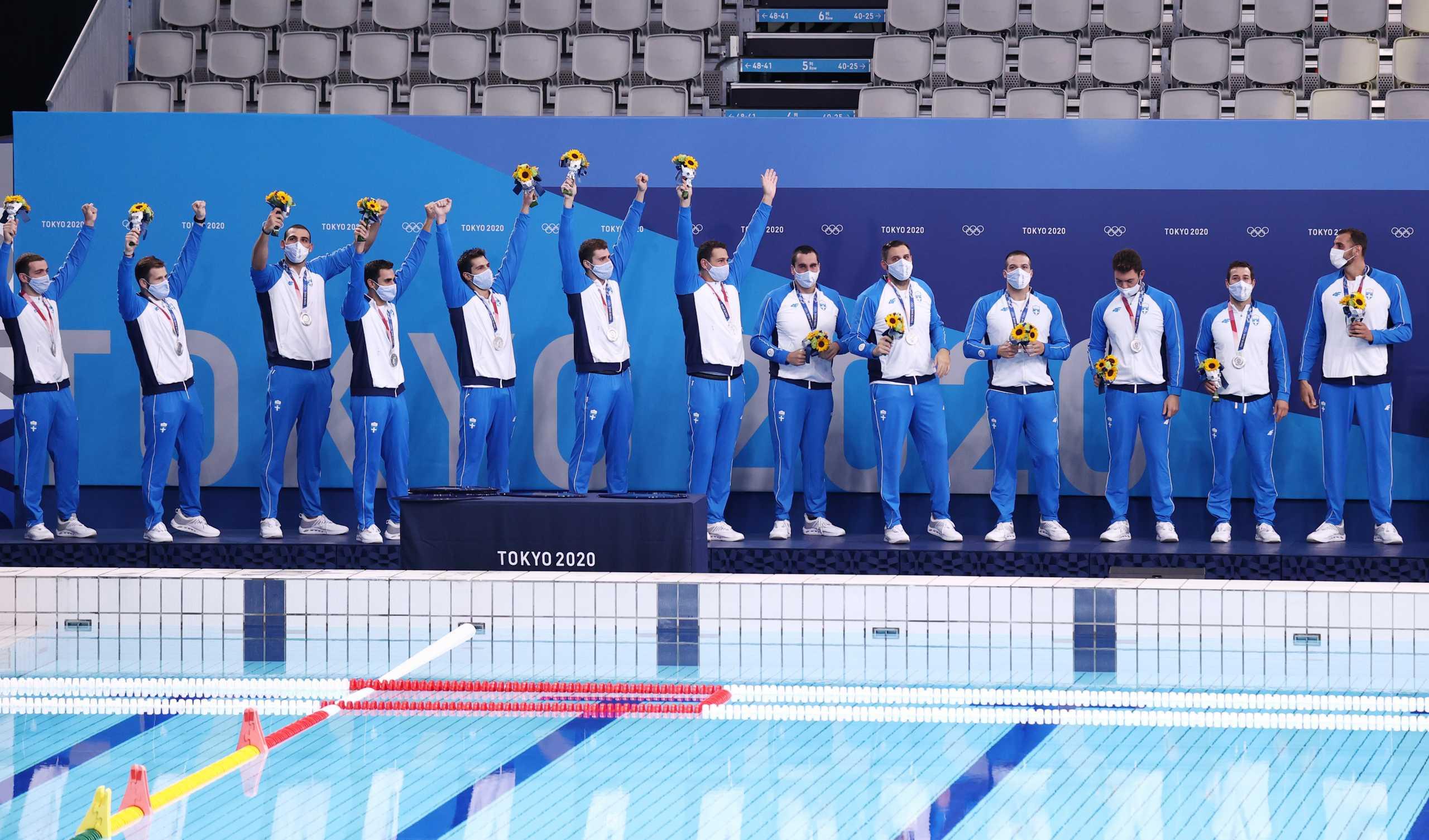 Εθνική πόλο: Η απονομή του ασημένιου Ολυμπιακού μεταλλίου στην «γαλανόλευκη»
