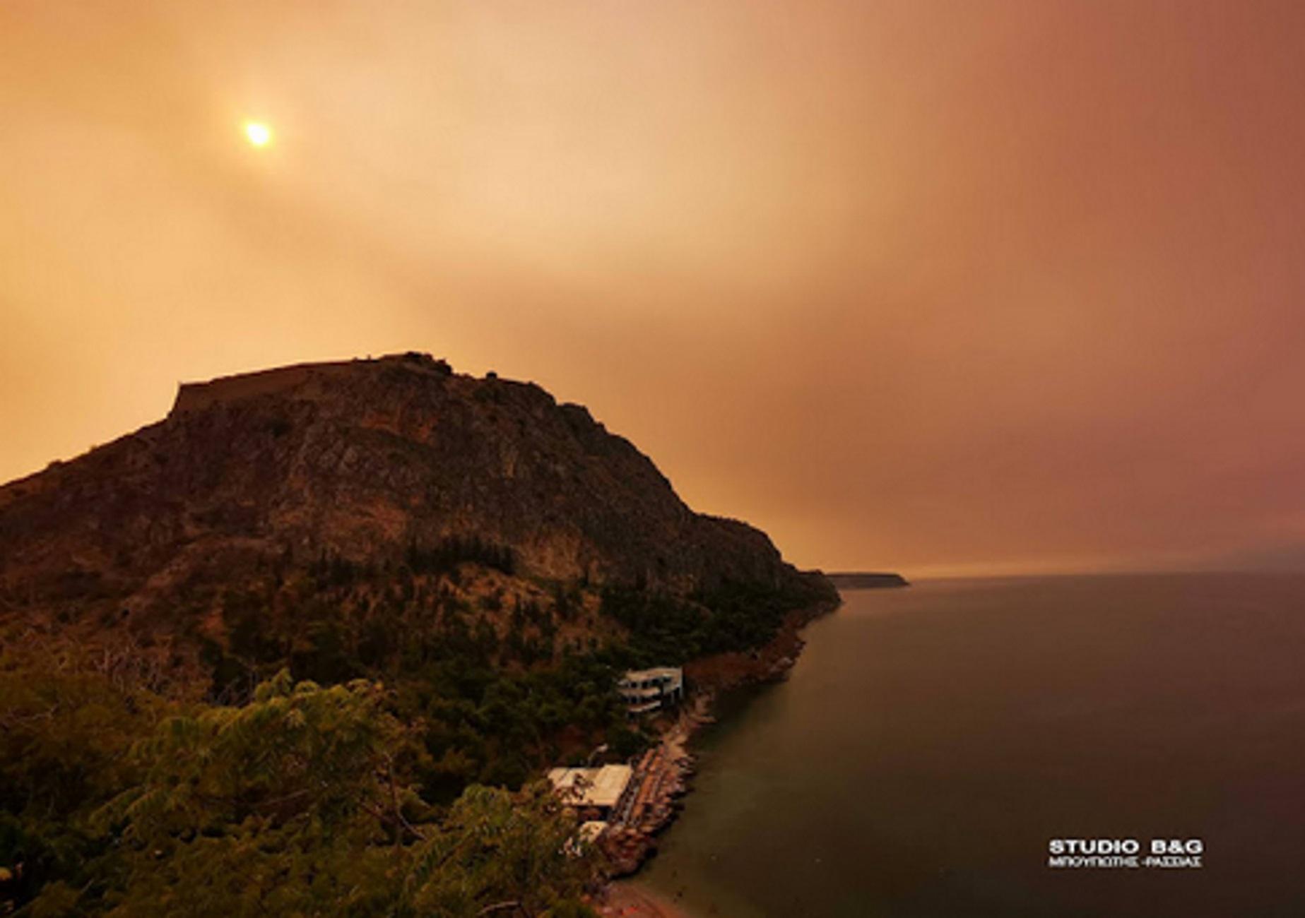 Φωτιά στα Βίλια: Ο καπνός έφτασε και σκέπασε την Αργολίδα – Αποπνικτική η ατμόσφαιρα
