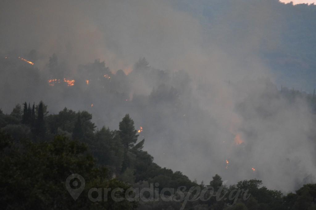 Φωτιά στην Αρκαδία: Δύο τα πύρινα μέτωπα – Εκκενώθηκαν οικισμοί, κάηκαν σπίτια
