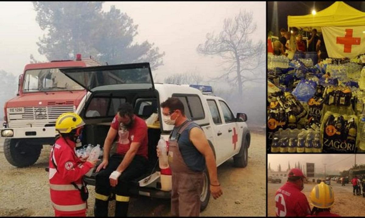 Ερυθρός Σταυρός: Εθελοντές στα μέτωπα της πυρκαγιάς – Συγκέντρωση χρημάτων και τροφίμων για τους πυρόπληκτους
