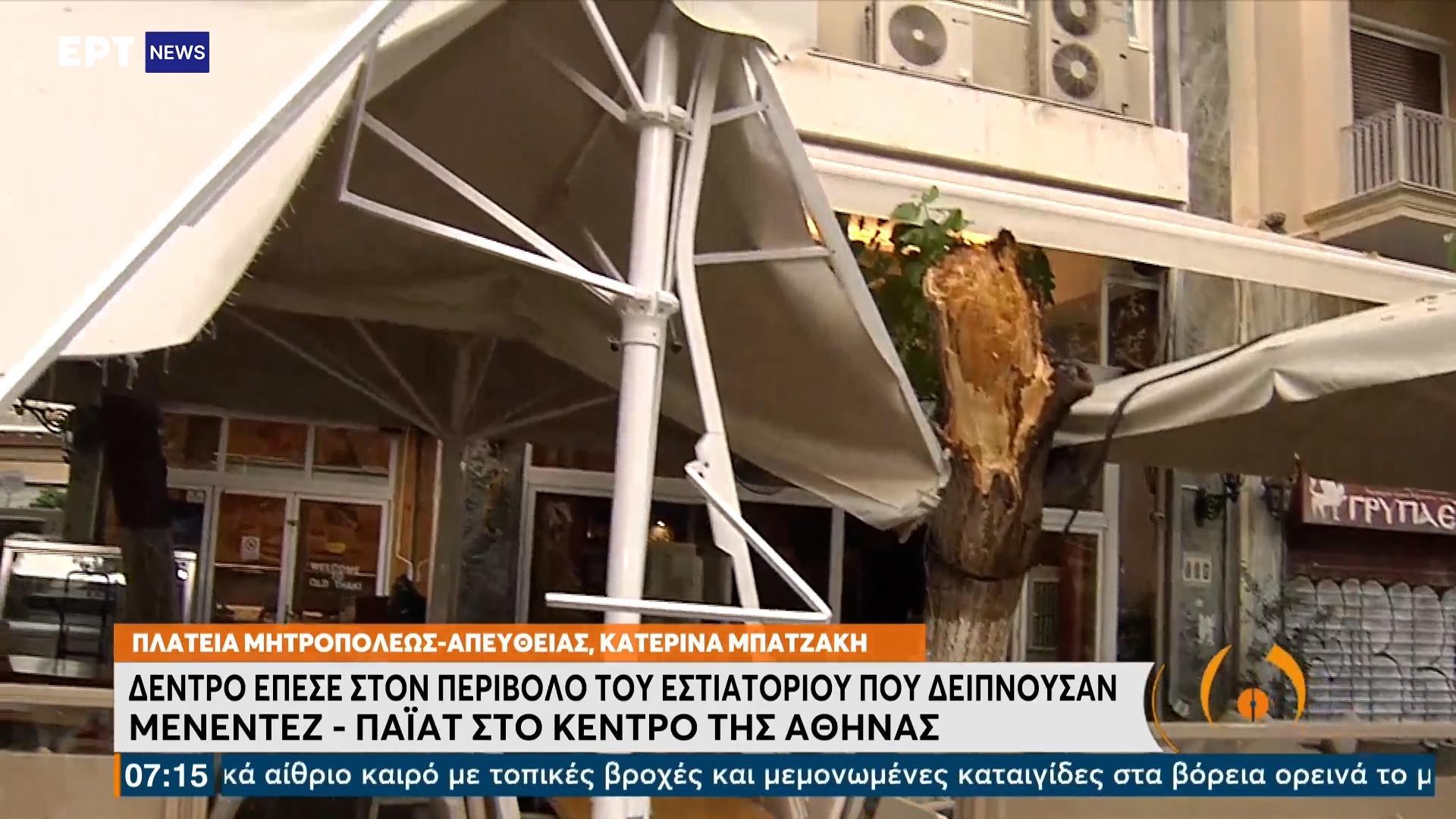 Έπεσε δέντρο σε εστιατόριο στο κέντρο την ώρα που έτρωγαν Τζέφρι Πάιατ και Ρόμπερτ Μενέντεζ