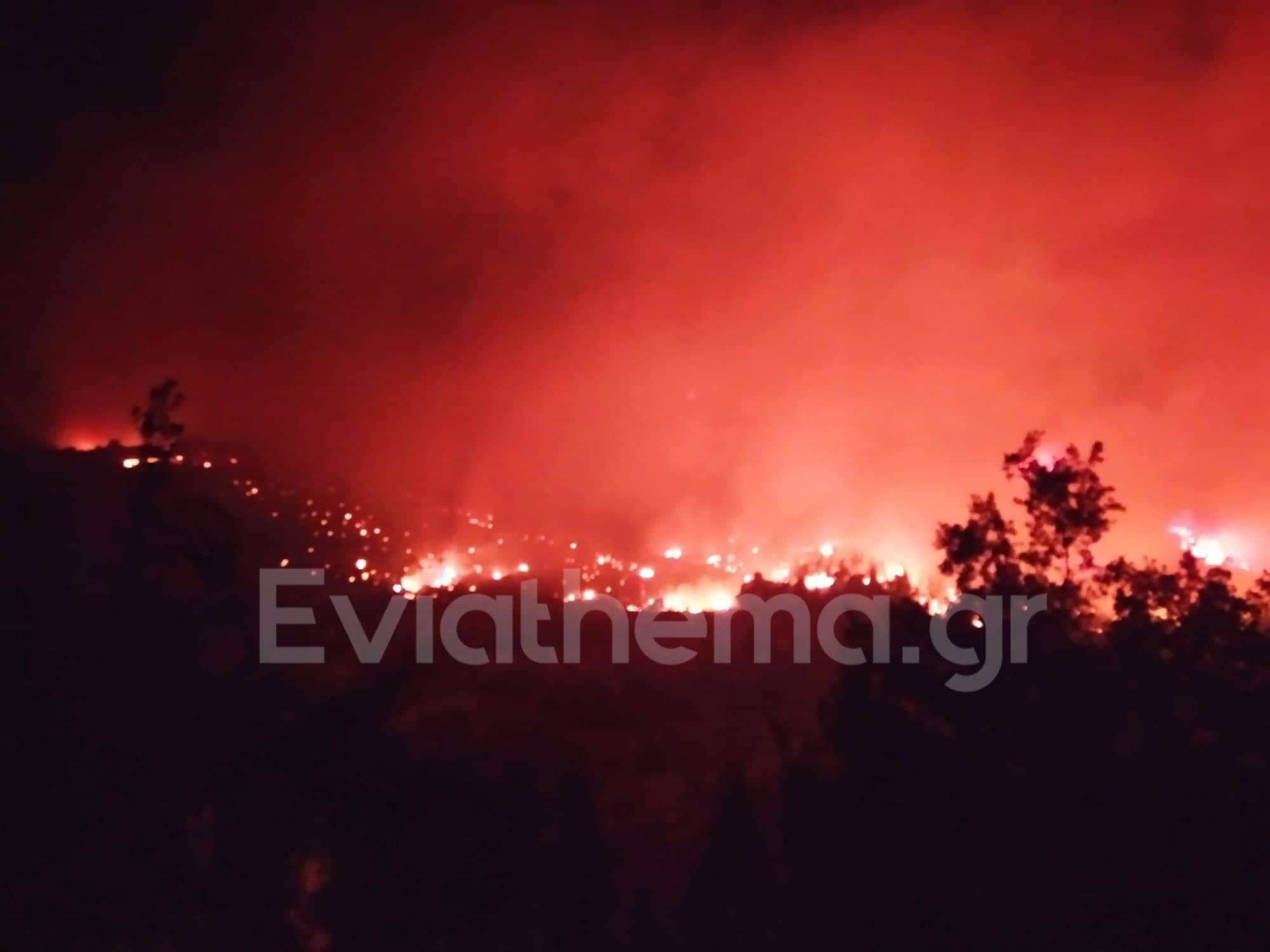 Φωτιά στην Εύβοια: Οι φλόγες κύκλωσαν τα Ελληνικά – Κάηκαν σπίτια στα Βασιλικά