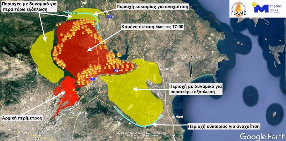Φωτιές στην Αττική: Τρομακτική πρόβλεψη από το Εθνικό Αστεροσκοπείο – Δείτε τον χάρτη