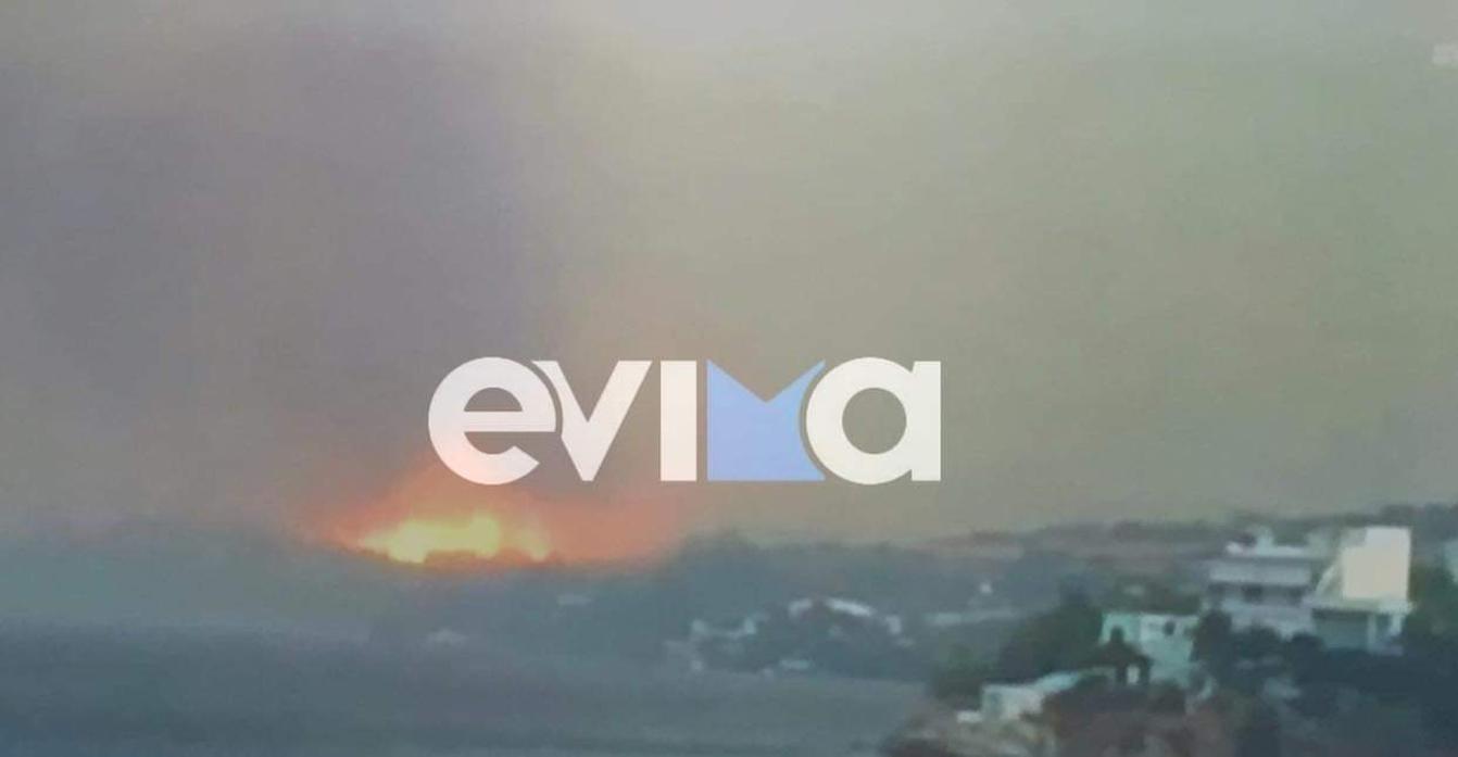 Φωτιά στην Εύβοια, στην περιοχή Φυγιάς Καρύστου – Καίει δασική έκταση