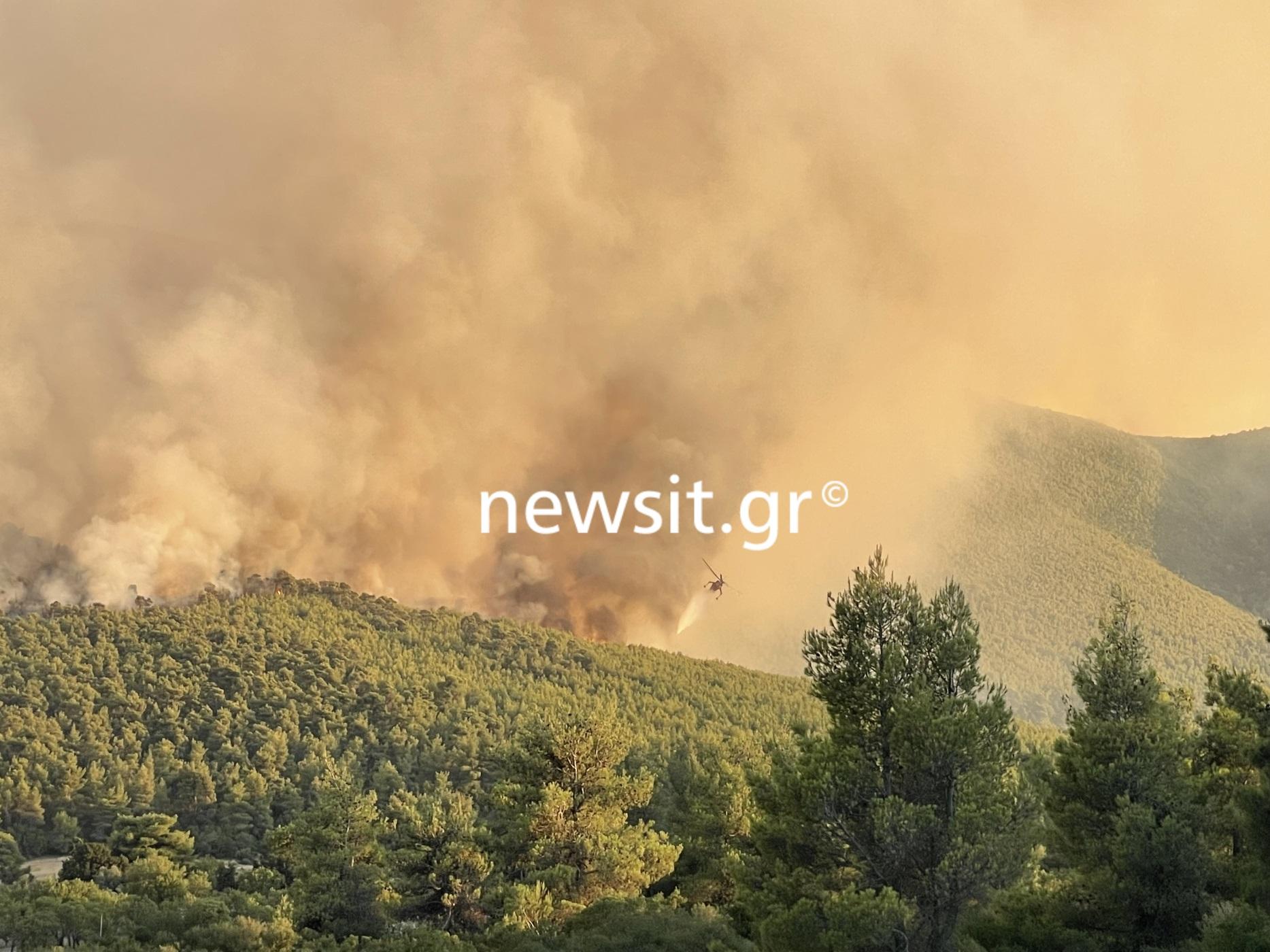 Φωτιές στην Αττική: Μάχη για να μην φτάσουν οι φλόγες στα Βίλια – Παραμένει το πύρινο μέτωπο στην Κερατέα
