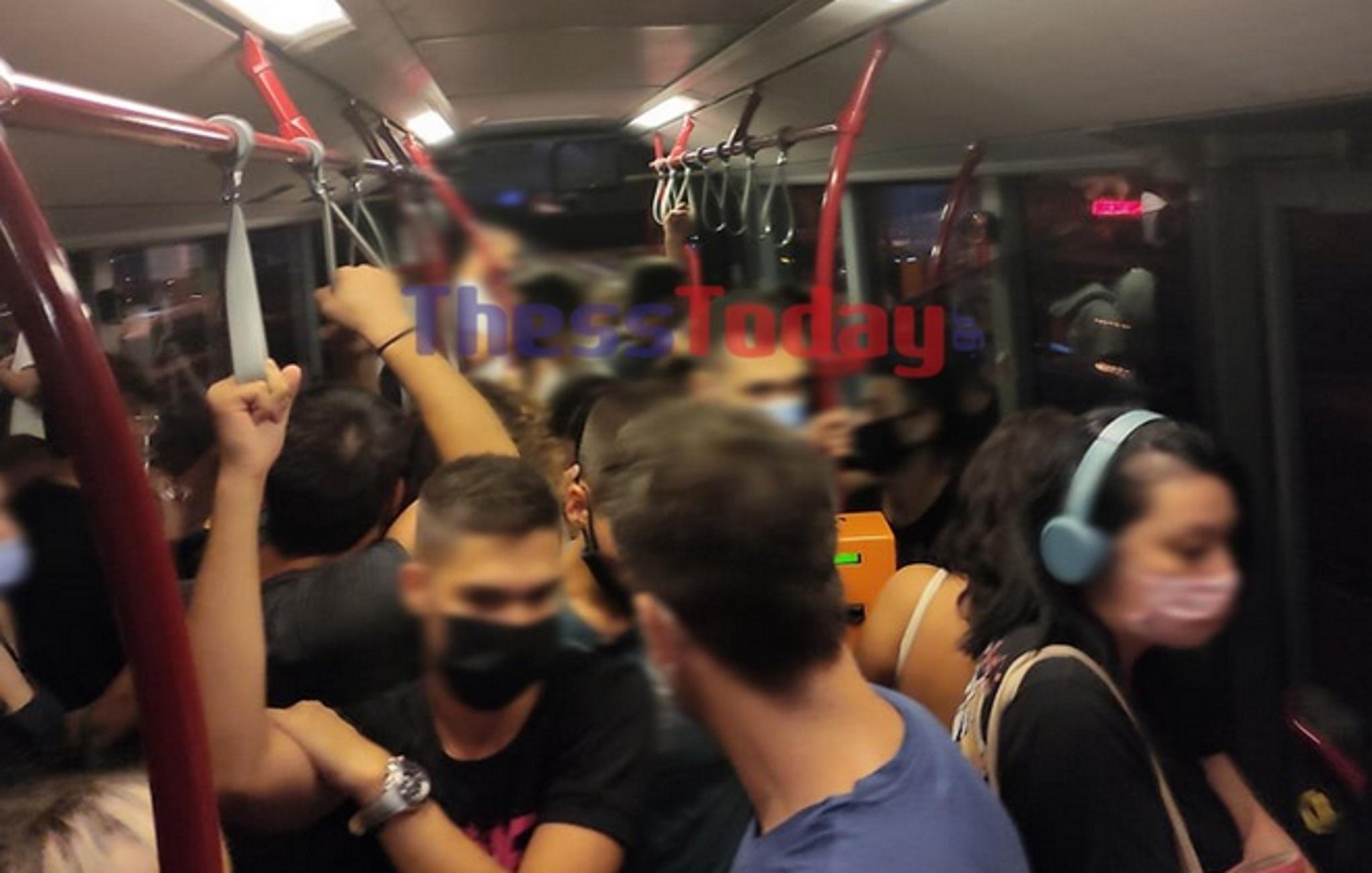 Θεσσαλονίκη: Στριμωγμένοι σαν σαρδέλες σε λεωφορείο με κλειστά παράθυρα – Δείτε τις εικόνες
