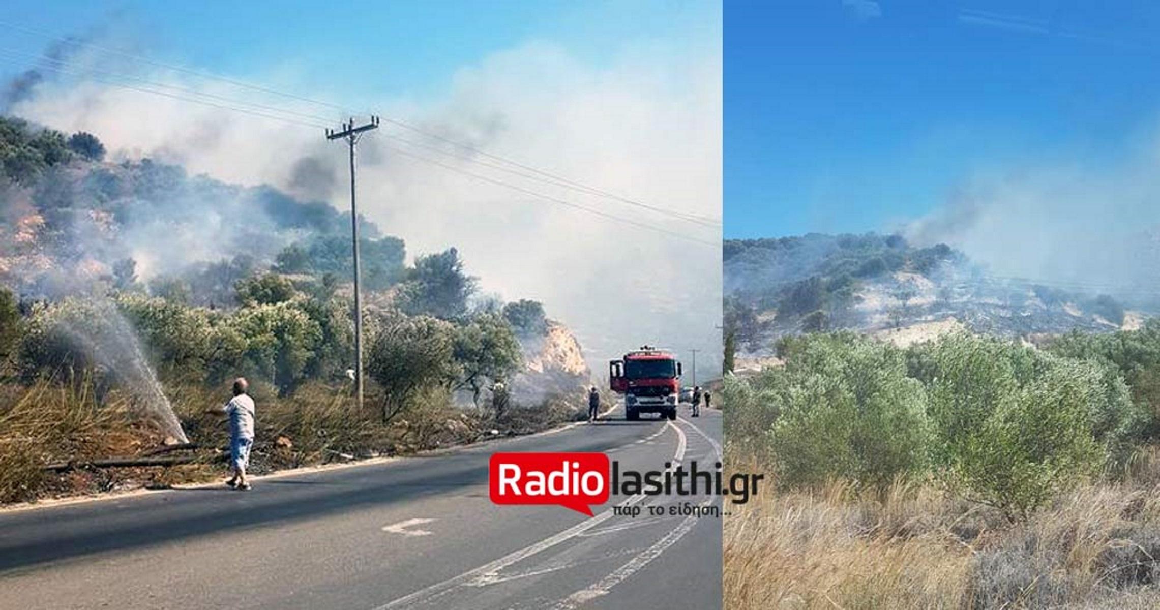 Φωτιά στην Ιεράπετρα – Δυνατοί άνεμοι στην περιοχή