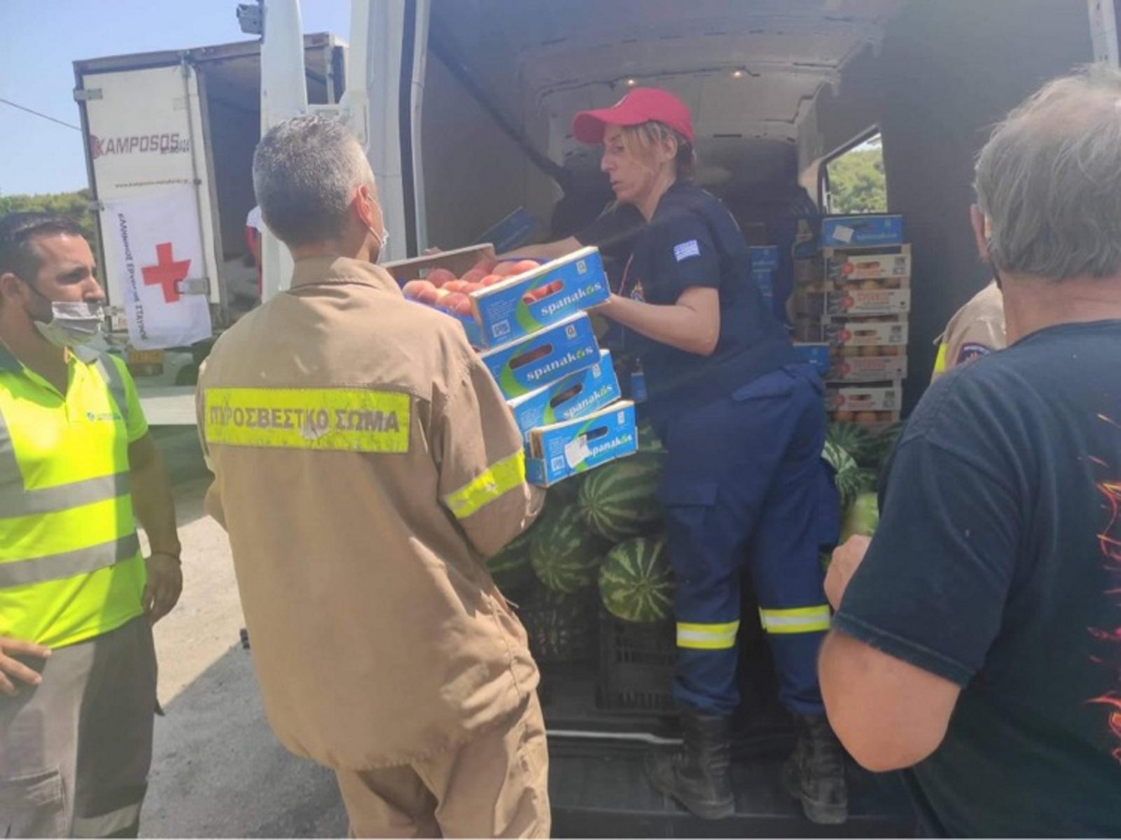 Φωτιά στα Βίλια: Προσφορά 2 τόνων φρούτων στα Σώματα Ασφαλείας και στους εθελοντές