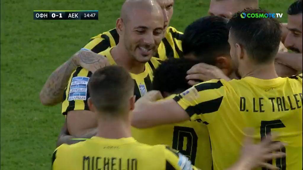 Super League 1, ΟΦΗ – ΑΕΚ: Γκολ ο Αραούχο, έσπασε το «ρόδι»