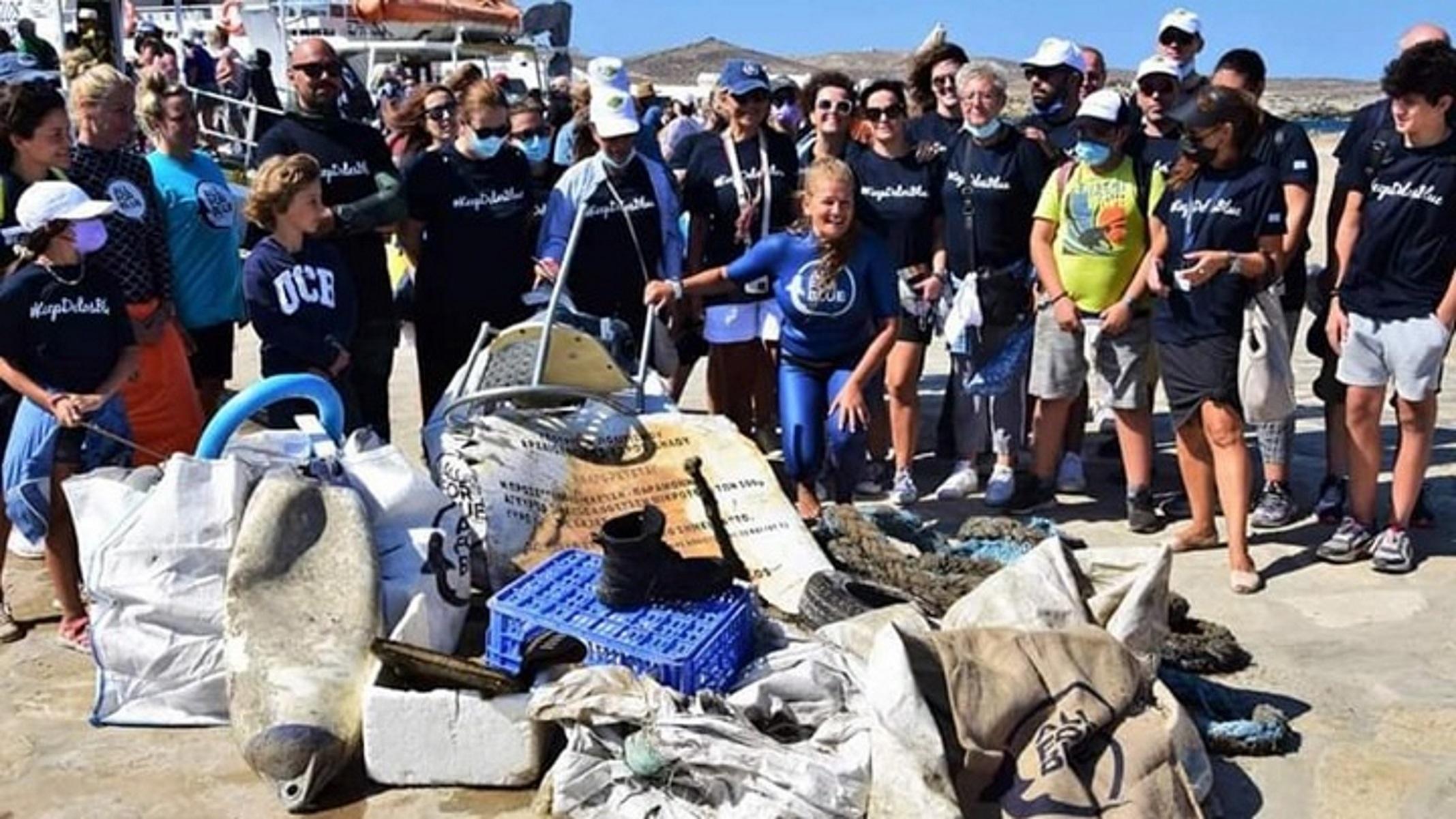 Δήλος – All For Blue: Πάνω από ένας τόνος σκουπιδιών ανασύρθηκε από τον βυθό