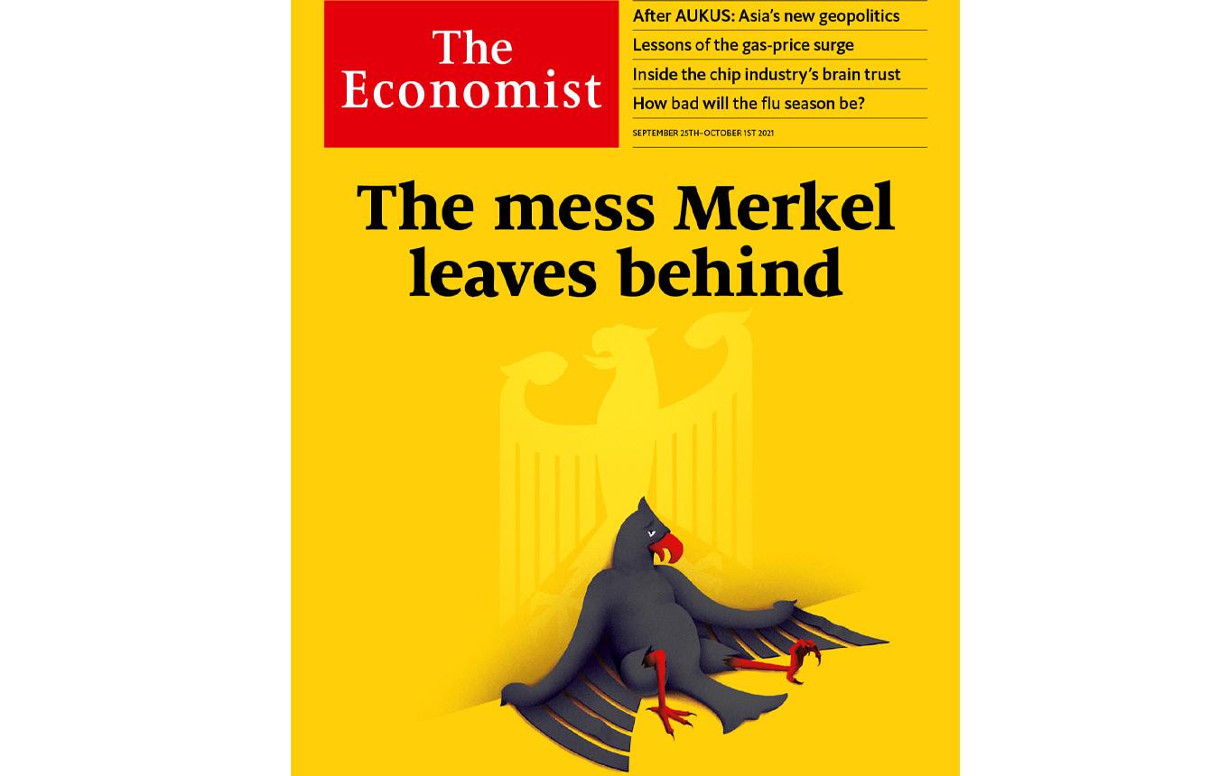 Απίστευτο πρωτοσέλιδο του Economist κατά Μέρκελ: Ο «σκασμένος» αετός και το χάος που αφήνει πίσω της