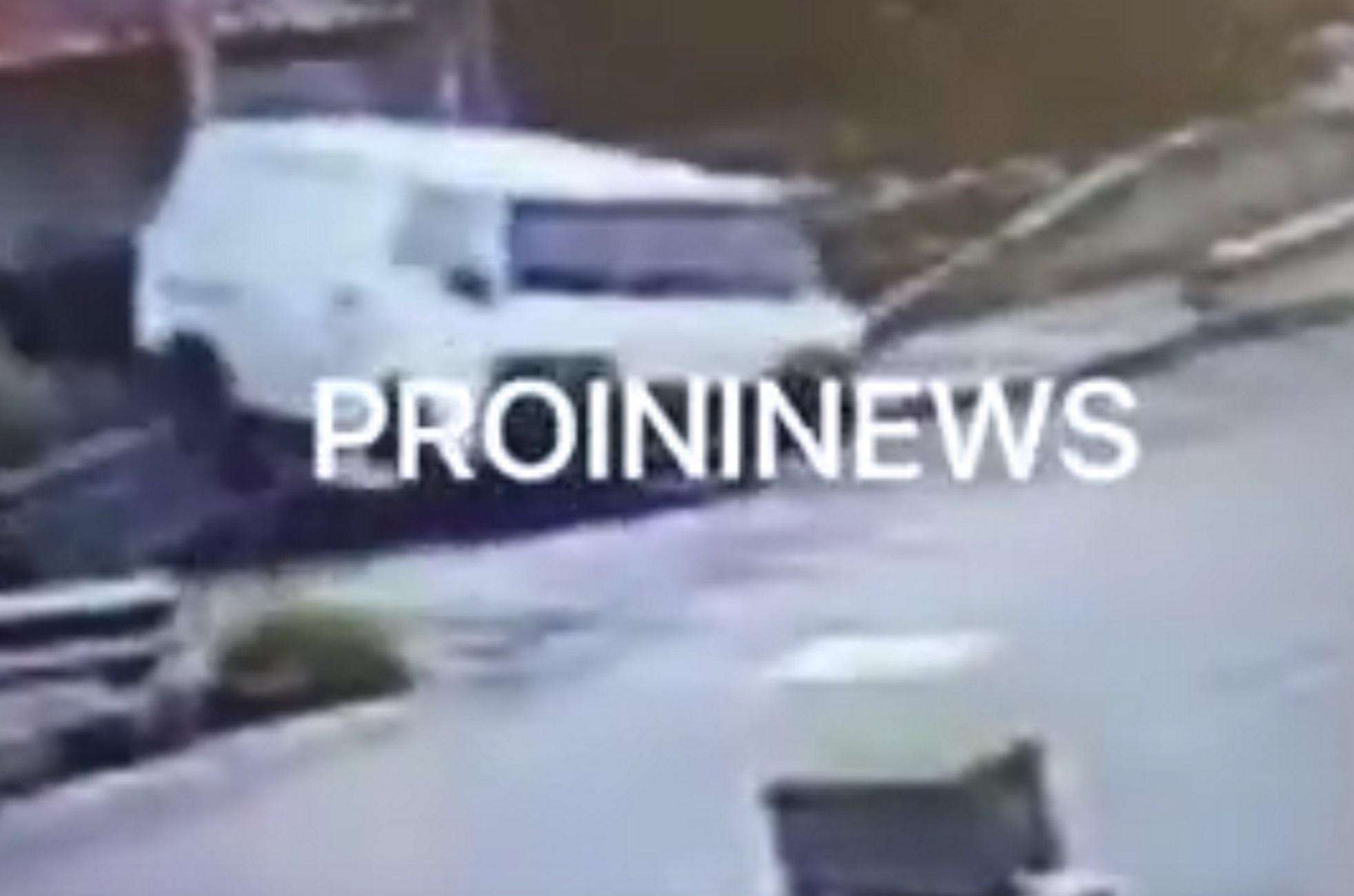 Καβάλα: Βίντεο ντοκουμέντο με την «τρελή» πορεία λευκού φορτηγού που καταλήγει σε στέγη σπιτιού