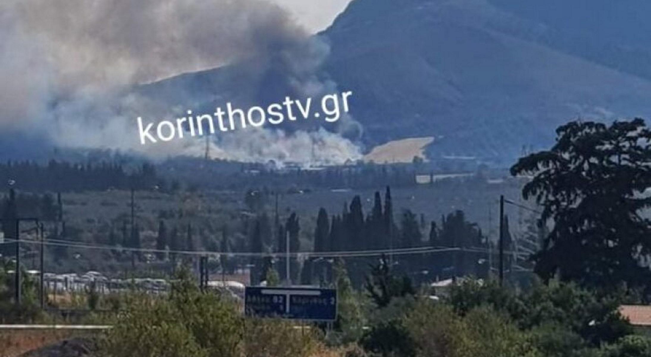 Φωτιά στην Αρχαία Κόρινθο  – Κινητοποιήθηκαν επίγειες και εναέριες δυνάμεις