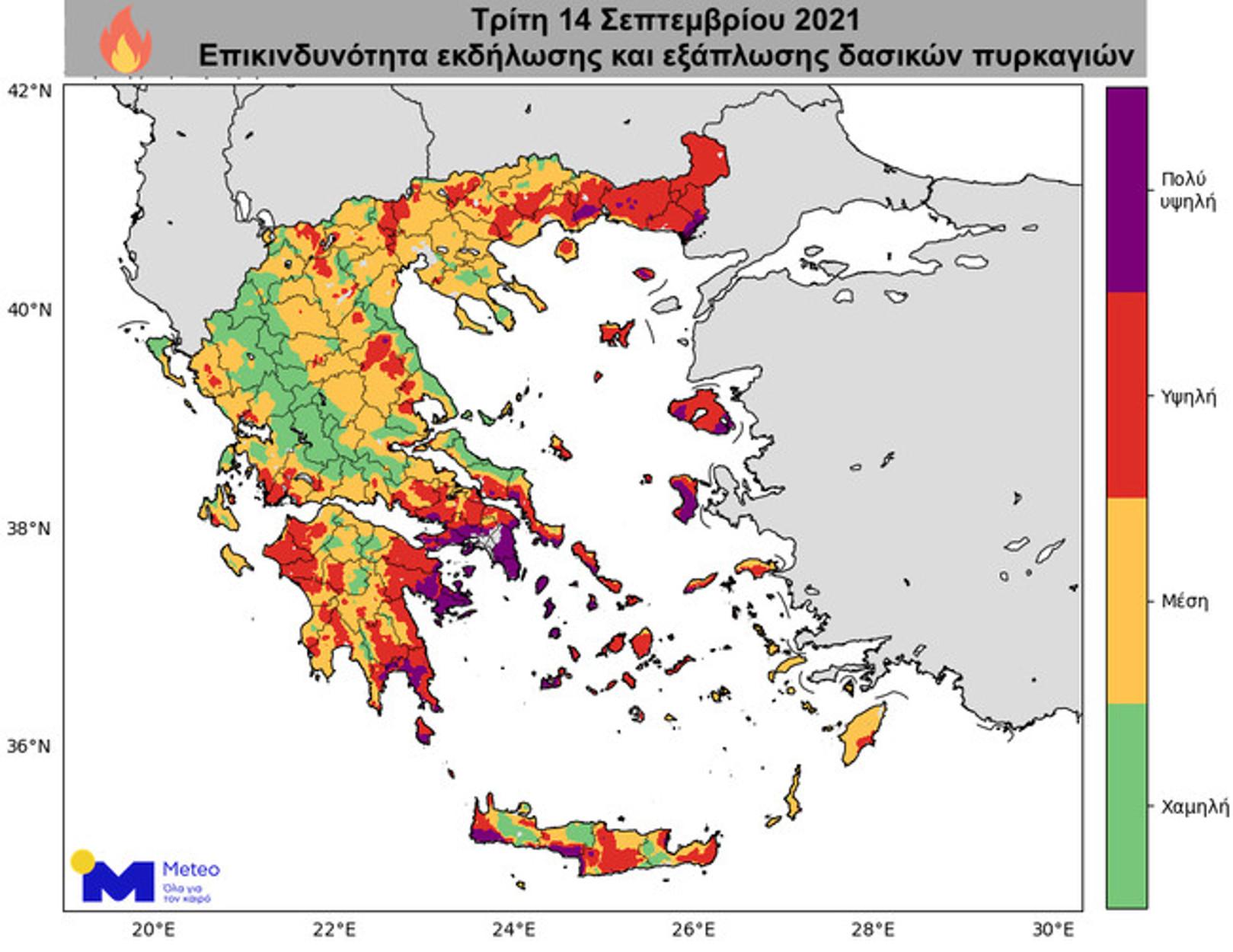 Καιρός: Ισχυροί άνεμοι και μεγάλος κίνδυνος για φωτιές – Ποιες περιοχές είναι πιο επίφοβες