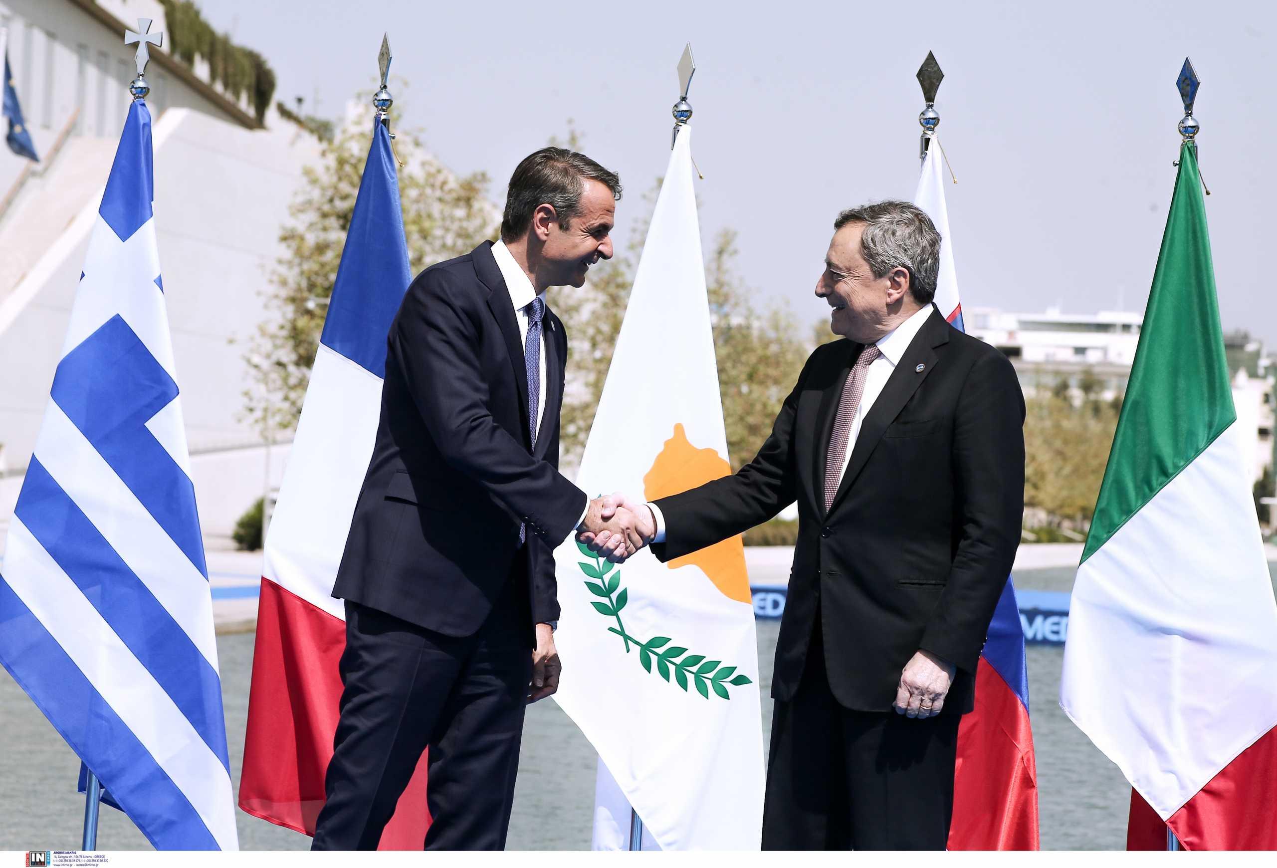 Eumed9 – Σύνοδος Κορυφής στο Σταύρος Νιάρχος – Ο Κυριάκος Μητσοτάκης συναντήθηκε με τον Μάριο Ντράγκι