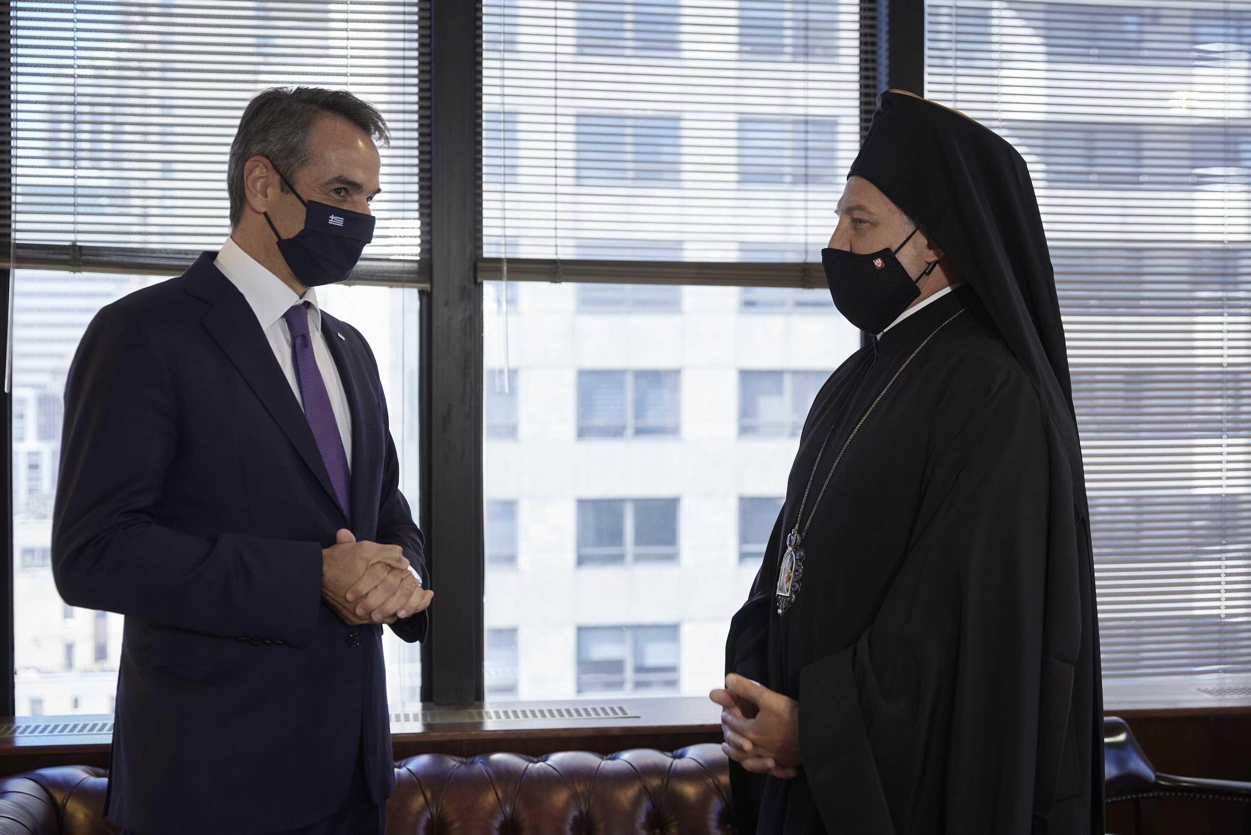 Κυριάκος Μητσοτάκης – Αρχιεπίσκοπος Αμερικής Ελπιδοφόρος: Η συνάντηση στη Νέα Υόρκη