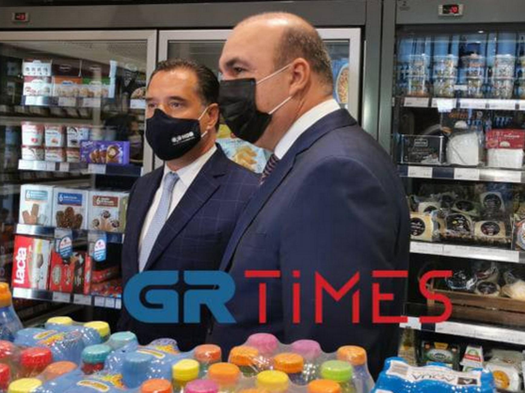 Θεσσαλονίκη: Ο Άδωνις Γεωργιάδης έκοψε την κορδέλα του σούπερ μάρκετ «Μασούτης» στο αεροδρόμιο