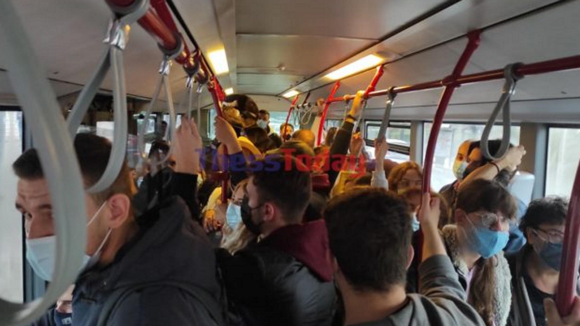Θεσσαλονίκη: Μέσα στο λεωφορείο της απελπισίας – Συνωστισμός και νεύρα πίσω από τον οδηγό