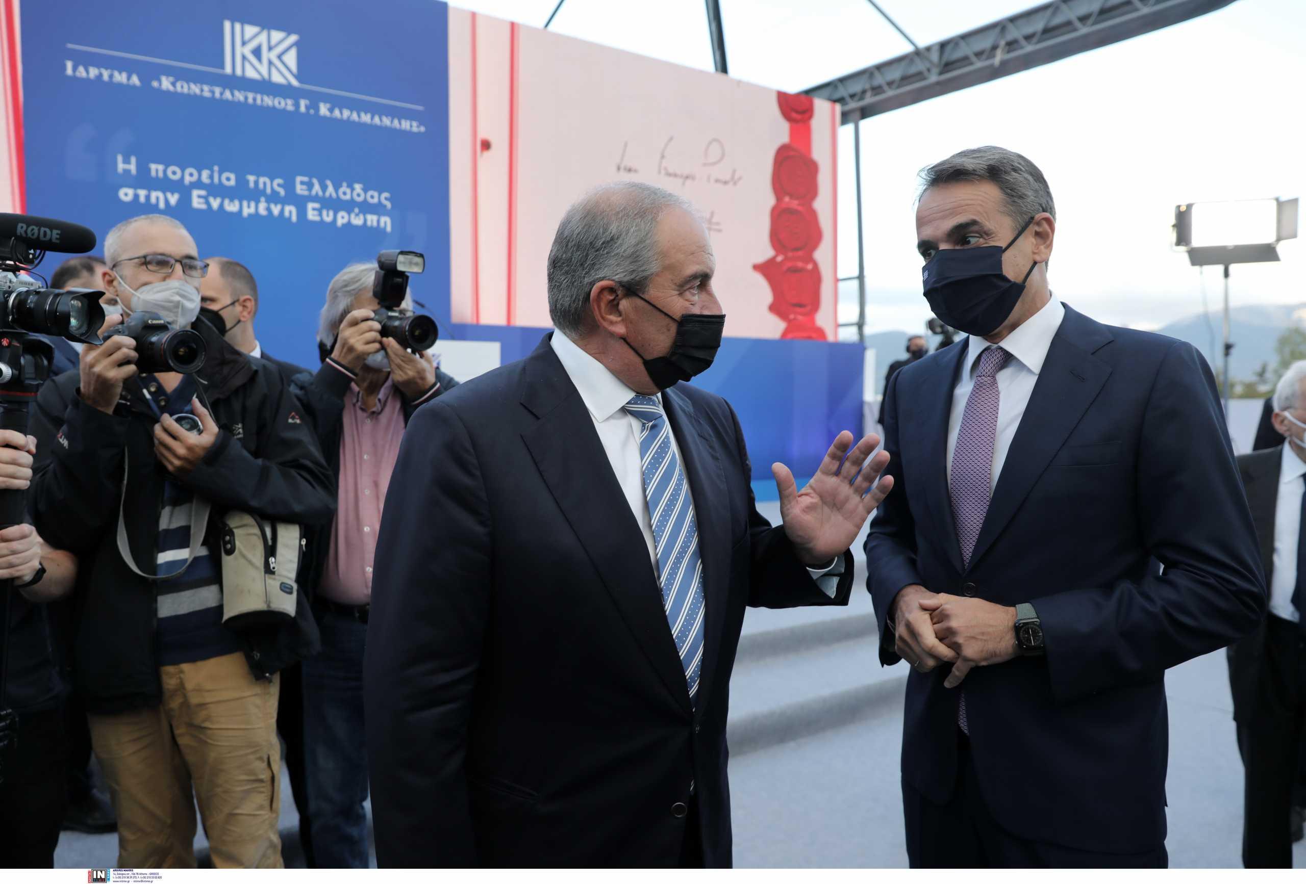 Κυριάκος Μητσοτάκης και Κώστας Καραμανλής στην εκδήλωση για τα 47 χρόνια από την ίδρυση της ΝΔ