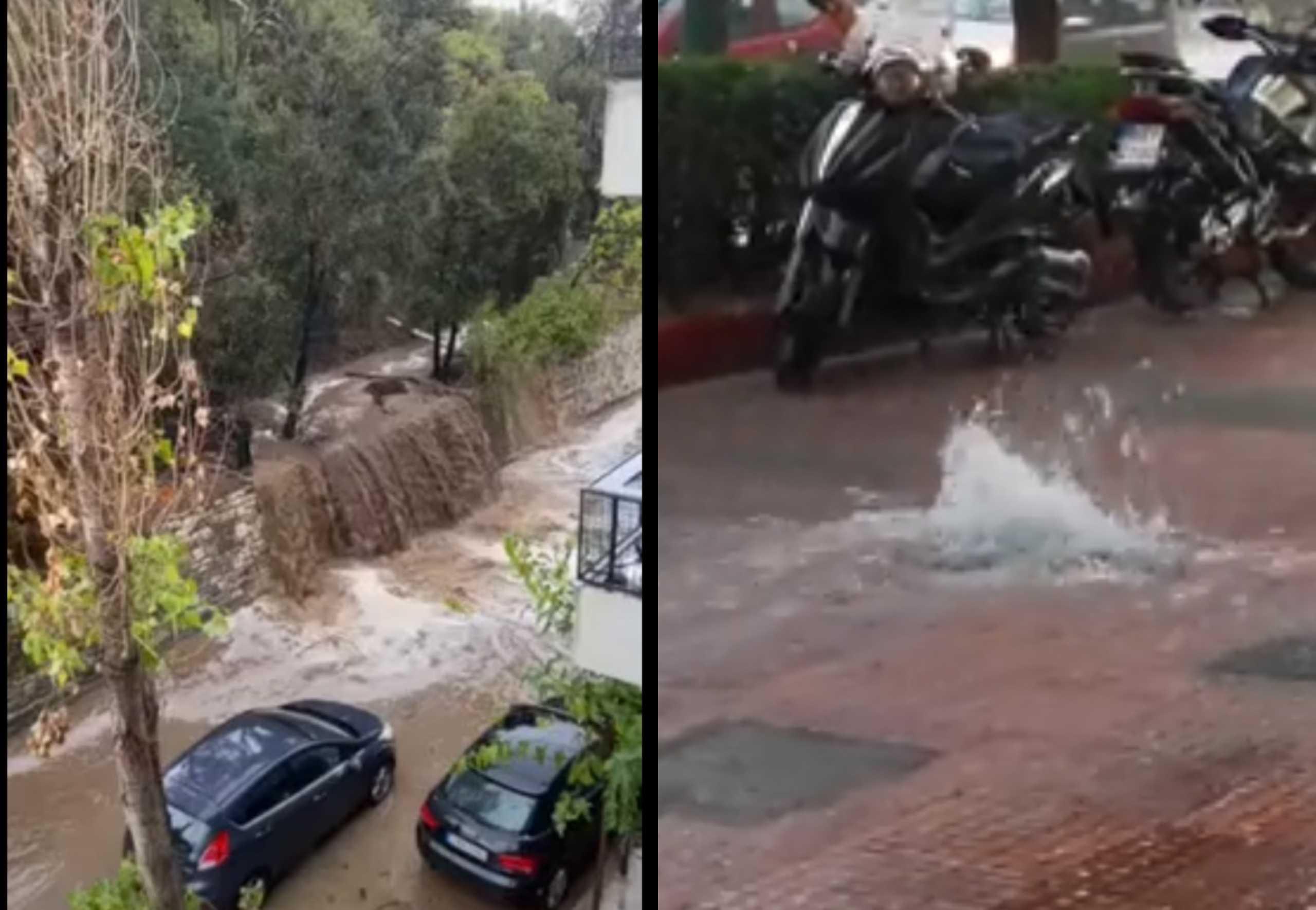 Κακοκαιρία «Μπάλλος»: «Καταρράκτης» στον Λυκαβηττό - «Ποτάμι» στο πεζοδρόμιο στην Πανεπιστημίου