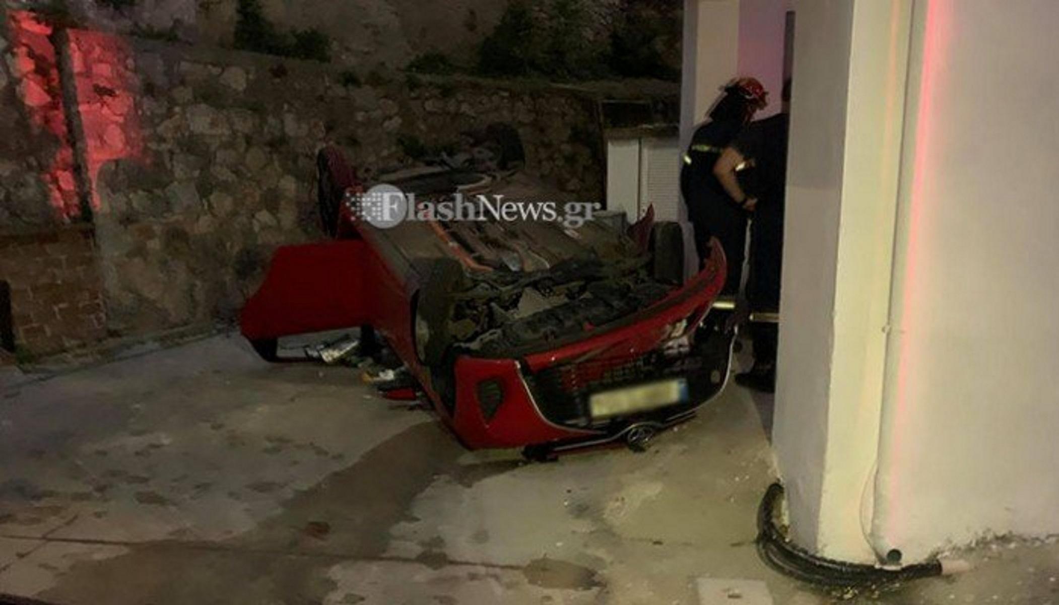 Τροχαίο ατύχημα στα Χανιά: Αυτοκίνητο με δύο μικρά παιδιά έπεσε σε ακάλυπτο πολυκατοικίας